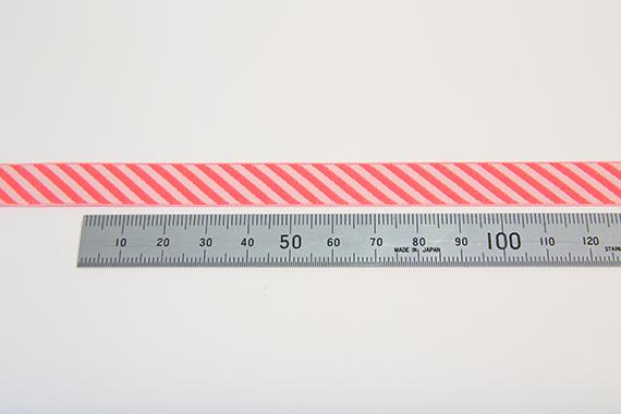リバーシブルチロル/ボーダーリボン/12mm/蛍光オレンジ