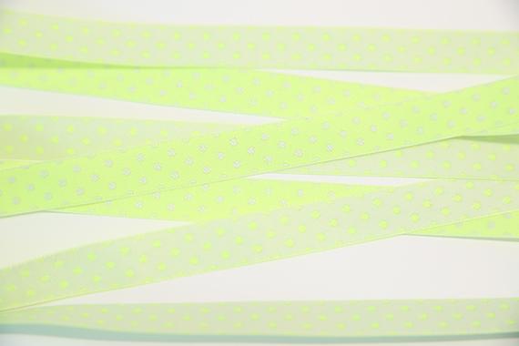 リバーシブルチロル/ドットリボン/12mm/蛍光ライム